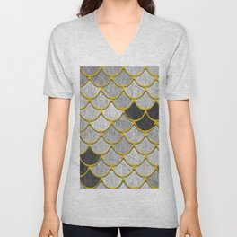 Dragon Scales with Yellow Outlines Unisex V-Neck