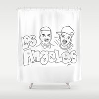 los angeles Shower Curtains featuring Los Angeles by elle stone