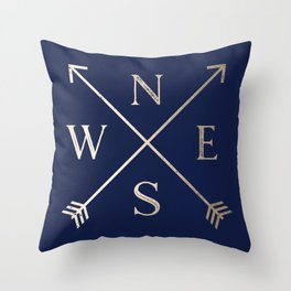 Gold on Navy Blue Compass Throw Pillow