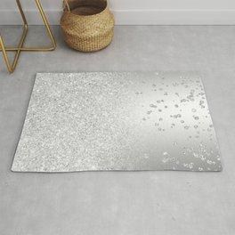 Modern silver glitter ombre metallic sparkles confetti Rug