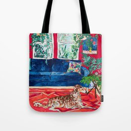 Red Interior with Borzoi Dog and House Plants Painting Tote Bag