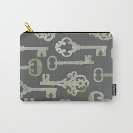 Skeleton Key Pattern in Gray Carry-All Pouch