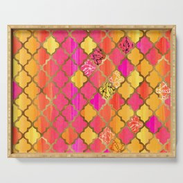 Moroccan Tile Pattern In Pink, Red, Orange, And Gold Serving Tray
