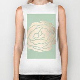 Rose White Gold Sands on Pastel Green Cactus Biker Tank