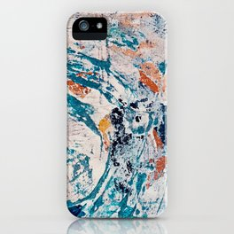 Reflections: a bold and interesting abstract mixed media piece in blues, yellows, orange, and white iPhone Case