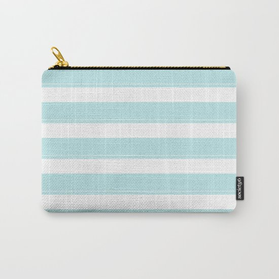 Striped 2 - turquoise stripes on white - #Society6 Carry-All Pouch