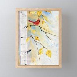Cardinal on birch Tree Framed Mini Art Print