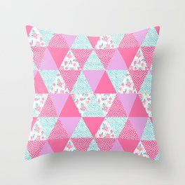 Bright quilt triangle cheater quilt pattern florals modern color palette gifts for nursery Throw Pillow