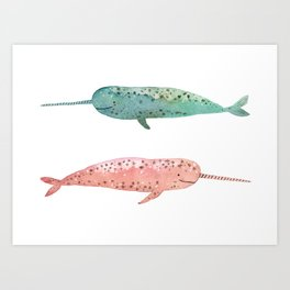 Narwhals on their way Art Print
