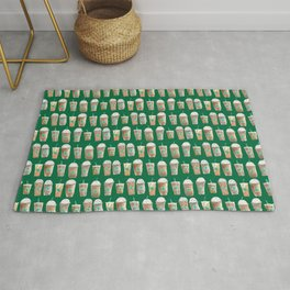 Coffee Cup Line Up in Green Rug