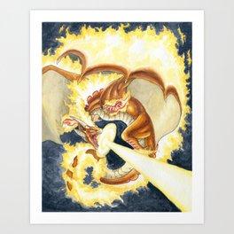 Burning Fire Dragon Art Print