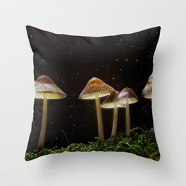 Glowing Shrooms Throw Pillow