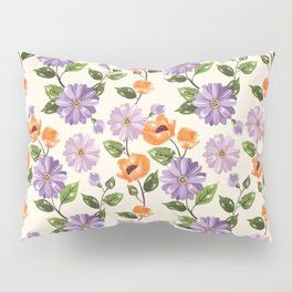 Rustic orange lavender ivory floral illustration Pillow Sham