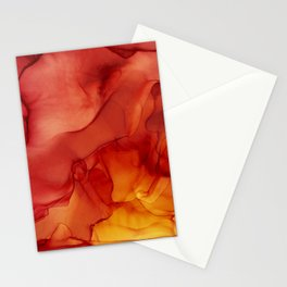Red Sunset Abstract Ink Painting Red Orange Yellow Flame Stationery Cards