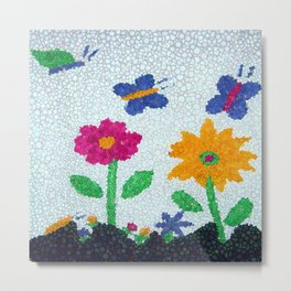 Butterflies and spring flowers bubble art Metal Print