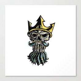 Skull of Neptune Trident Crown Head  Woodcut Canvas Print