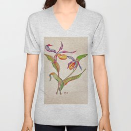 painted orchid Unisex V-Neck