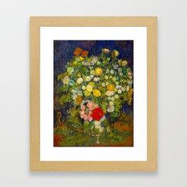 Bouquet of Flowers in a Vase Vincent van Gogh Oil on canvas 1890 Framed Art Print