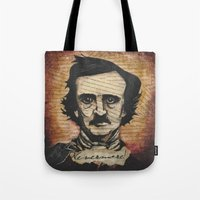 poe Tote Bags featuring Poe by Colunga-Art