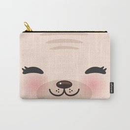 Kawaii funny cat with pink cheeks and winking eyes on pink background Carry-All Pouch