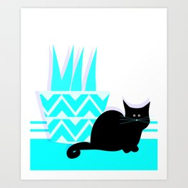 Cat with potted plant Art Print
