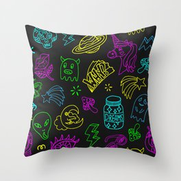 Space theme patch badge outline pattern Throw Pillow