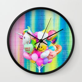 Colorful Balloons on Rainbow Wall Wall Clock