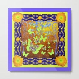 Decorative Butterflies Blue-Gold Patterns Floral Metal Print