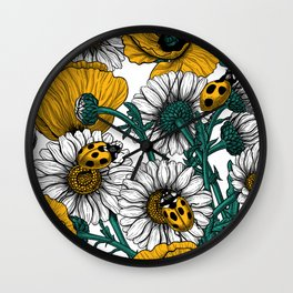 The meadow in yellow Wall Clock