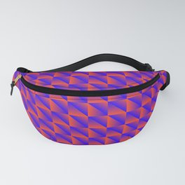 Pattern of orange squares and purple triangles in a zigzag. Fanny Pack