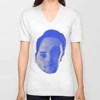 chad wys V-neck T-shirts featuring Bad Chad Head by Blake Makes Tees