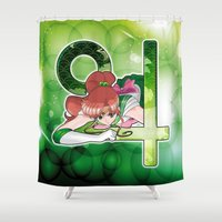 sailor jupiter Shower Curtains featuring Sailor Jupiter - Crystal Planet edit. by Yue Graphic Design