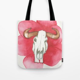 Death Meets the Flowers Tote Bag
