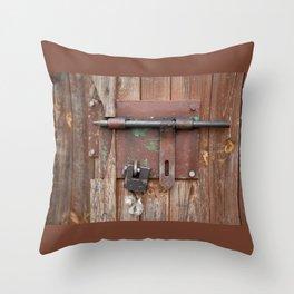 Iron sliding bolt unlocked and padlock Throw Pillow