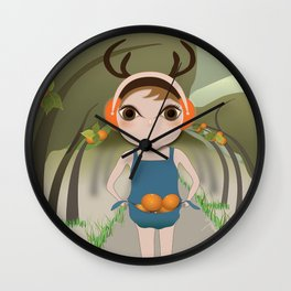 Deery Fairy and Oranges Wall Clock