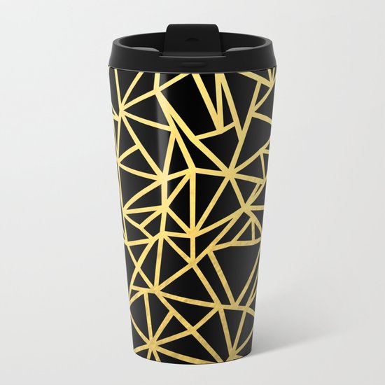 Abstract Outline Thick Gold Metal Travel Mug