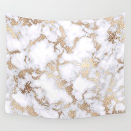 Modern Chic White Gold Foil Marble Pattern Wall Tapestry
