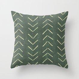 Mudcloth Big Arrows in Leaf Green Throw Pillow