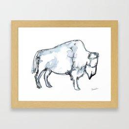 Buffalo, Watercolor Framed Art Print