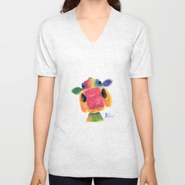 Nosey Cow ' BRIDGET ' by Shirley MacArthr Unisex V-Neck