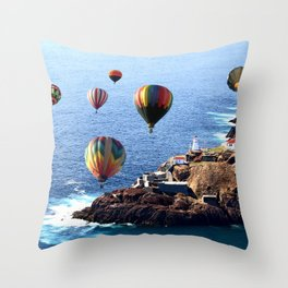 Flying Colorful Hot air Balloons over Newfoundland Throw Pillow