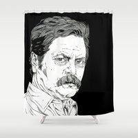 ron swanson Shower Curtains featuring Ron Swanson by Andy Christofi