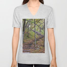 Stairway into the Woods Unisex V-Neck