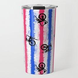 pink no blue bounding spinning wheel stripes Travel Mug
