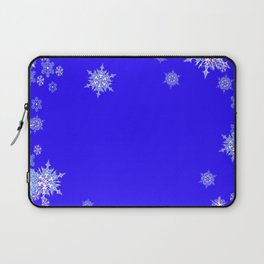 LACEY WHITE SNOWFLAKES HOLIDAY BLUE ART Laptop Sleeve