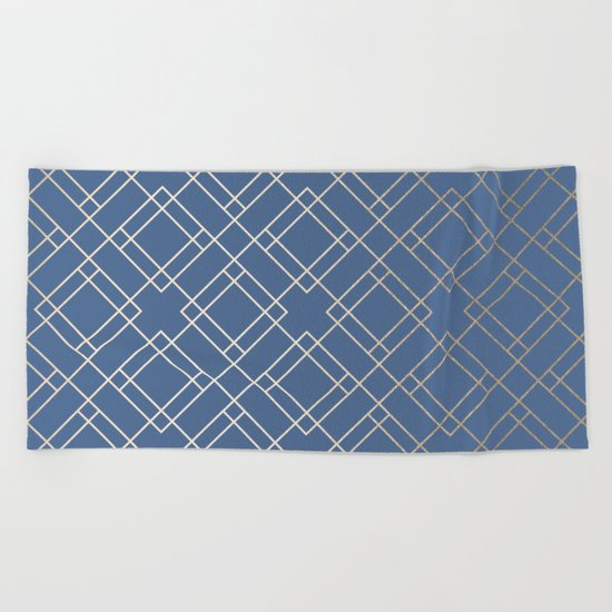 Simply Mid-Century in White Gold Sands on Aegean Blue Beach Towel