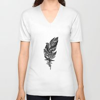 feather V-neck T-shirts featuring feather by Nastya Bo