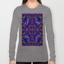 Purple Blue Pansy  &  Gold Geometric Abstract Long Sleeve T-shirt