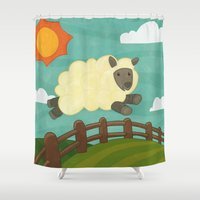sheep Shower Curtains featuring Sheep by Claire Lordon