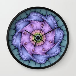 Magical zoomed fractal image in shiny pastel colours Wall Clock